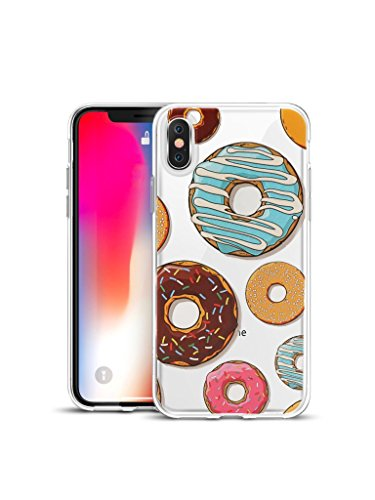 Fortune Cat Lucky Donut - 【CaserBay】Compatible With - iPhone X Phone Case Crystal Clear Soft TPU Silicone With Cute Cartoon Design Colorful Pattern Emboss Painting Flexible Slim Phone Cover【Doughnut-A, For iPhone X 5.8