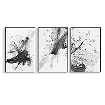 Incredible Portrait, Quality Artwork, Framed for Living Room Bedroom Abstract Ink Painting for x3 Panels