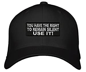 You Have The Right To Remain Silent Use It Hat - Funny Cop Adjustable Black Cap - Great Gift for a Police Officer