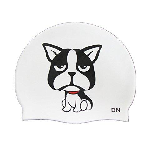 ENFANTS de natation Chapeaux, Cute Cat & Dog Print Coque en silicone Bonnet de bain pour enfants garçons filles, UV permanentes et étanche