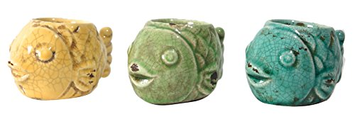 A&B Home Vale Fish Tealight Candle Holder, Set of ()