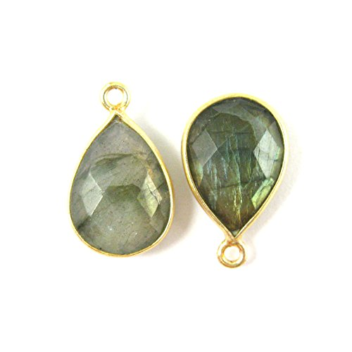 Bezel Gemstone Pendant - Small Teardrop - 10 x 14mm - 22K Gold plated Vermeil Bezel Gem - Labradorite Stone ( 2 pcs)