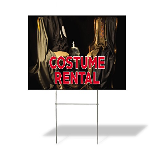 (Plastic Weatherproof Yard Sign Costumes Halloween Costume Rental for Sale Sign One Side)