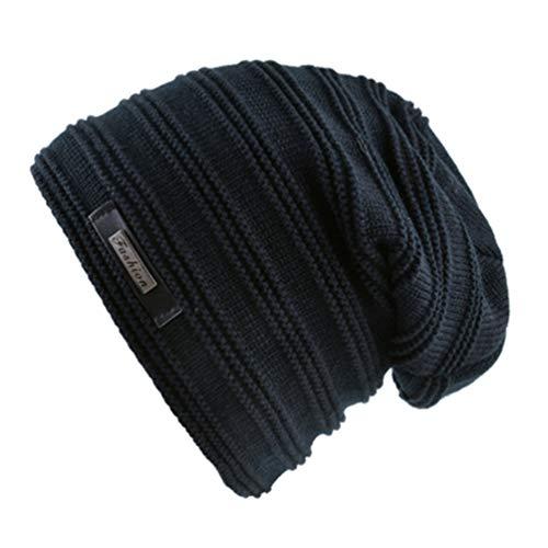 Beanies Terciopelo sólido Color de Invierno más Beanie Punto Negro Qianliuk Mujeres Gorra Los Hombres de Sombreros de CwZqxHP