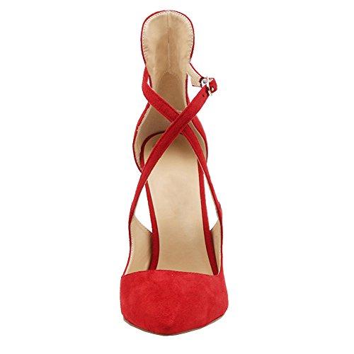 Stilettos Faux Damen Pumps Party Cross Schuhe 196 Wildleder MERUMOTE Rot Y Ausgeschnitten Damen Strap 7HxxS