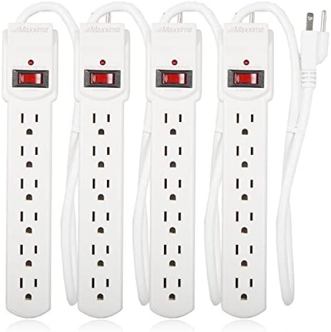Maxxima 6 Outlet Power Strip Surge Protector 300 Joules, 2FT Cord, Switch 4 Pack
