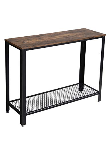VASAGLE Console Table, Sofa Table, Metal Frame, Easy Assembly, for Entryway, Living Room, Rustic Brown ULNT80X (Metal Table Foyer)