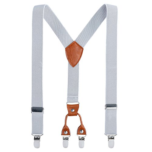 Kids Child Men Boy Suspenders - Adjustable Elastic Solid Color 4 Strong Clips Braces (27Inches (3 Years to 9 Years), Gray) -