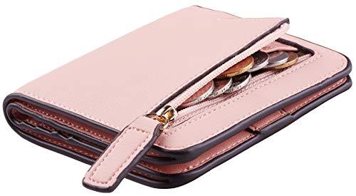 Toughergun Womens Rfid Blocking Small Compact Bifold Luxury Genuine Leather Pocket Wallet Ladies Mini Purse with ID Window (ReNapa Pink Lotus)