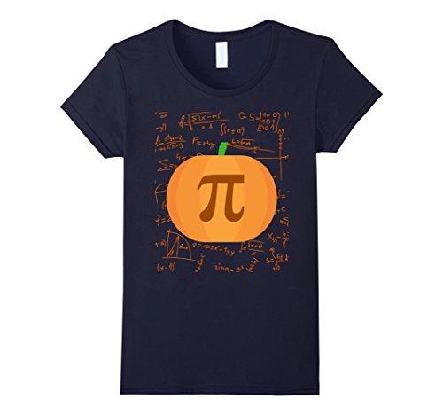 Halloween Costumes Teachers (Womens Pumpkin pi - Halloween costumes for math teacher Medium Navy)