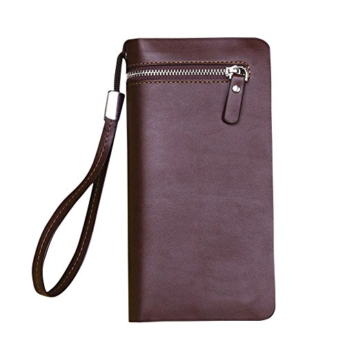 Business Coffee Hrph Leather Handbags New Wallet Purse Long Zipper Long Men Section card Multi UO5OwR
