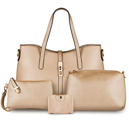 Bag Seeker Women Fashion Handbags Tote Bag Hobo Shoulder Bag Top Handle Satchel Purse Wallet 4 Sets (Women's Bag, Beige) ()