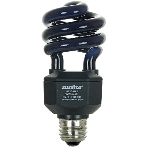 Sunlite SL20/BLB 20 Watt Spiral Energy Saving CFL Light Bulb Medium Base Blacklight -