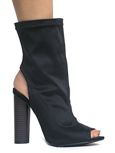 Leatherette Peep Toe - Back Cut Out Mid Height Fashion Bootie - High Heel Scuba Sock Boot 9