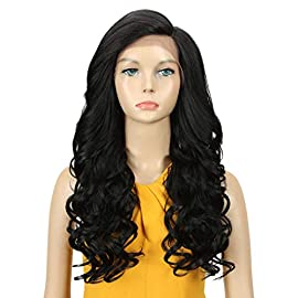 DÉBUT lace front wigs for black women Long wavy wigs for white women synthetic hair 22″ 274g Swiss Lace Heat Resistant Fibers Half Hand Tied (1B)