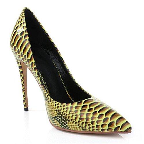 Spitze Serpentin Zehe Gelben High XIE Heels Mund Frauen Schuhe Damen Flachen qcZtpP