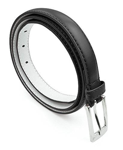 (Women Skinny PU Leather Dress Belt Polished Buckle Belle Donne - Black Medium)
