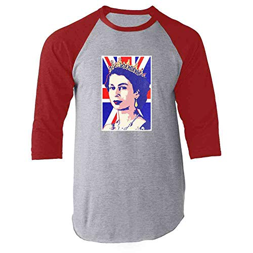 (Queen Elizabeth II Union Jack Pop Art Red 3XL Raglan Baseball Tee Shirt)