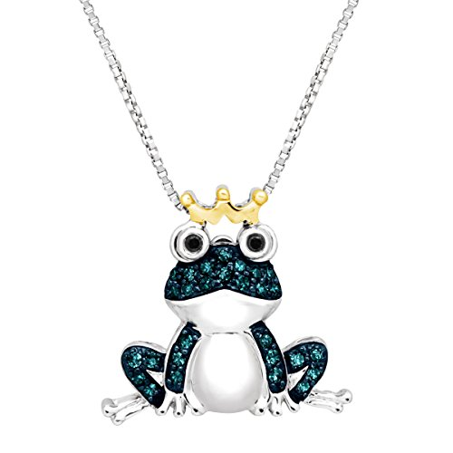 - 1/5 ct Blue & Black Diamond Frog Pendant Necklace in Sterling Silver & 14K Gold