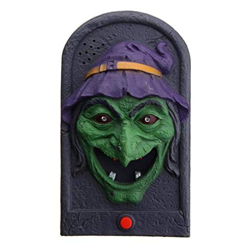 (SUKEQ Halloween Doorbell, Scary Light Up Eyes and Pops Out Tongue Trick or Treat Witch Skull Vampire Animated Doorbell for Bedroom Door, Happy Halloween Party Supplies (Skull A))