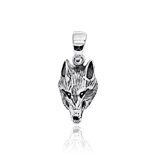 terling Silver Wolf Head Pendant (Sterling Silver Wolf Head Charm)