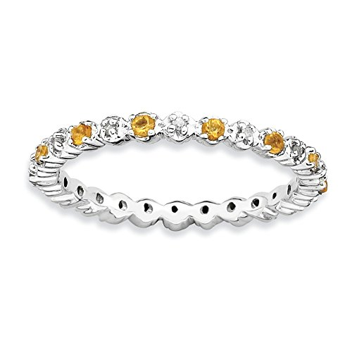 2.25mm Stackable Citrine & .04 Ctw HI/I3 Diamond Silver Band Size 7