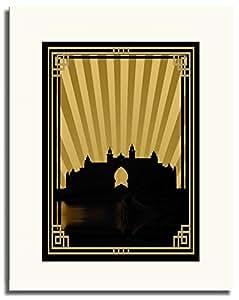 Atlantis - Sepia With Gold Border No Text F05-m (a5) - Framed