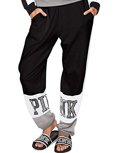 - Vs pink Victoria's Secret Pink New Logo Bling Campus Slouchy Pant Black/White Medium NWT
