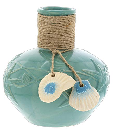 Distinctive Designs Turquoise Porcelain Jug with Sea Shell Charms, 8