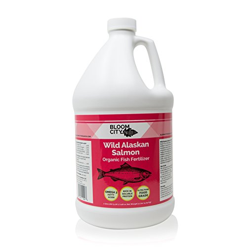 Organic Wild Fish Fertilizer and Plant Supplement, Great for Soil Sustainable Salmon, by Bloom City, Gallon (128 oz)