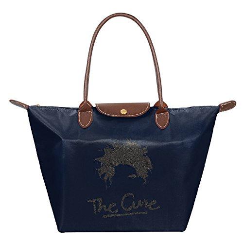 The Cure Rock Band Waterproof Foldable Tote Bags Shopping Beach Shoulder Handbags Purse Tote Shoulder Bag Navy