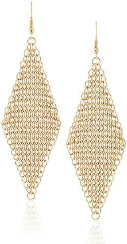 Diamond Shaped Metal Mesh Statement Hook Dangle Earrings by Lovey Lovey (Gold)
