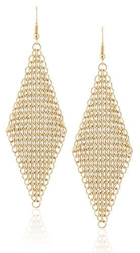 Diamond Shaped Metal Mesh Statement Hook Dangle Earrings by Lovey Lovey (Gold) - Gold Mesh Earrings