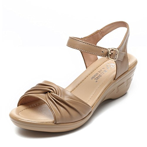Camel Heel Heel color Slope KPHY Shoes Sandals Mother Middle Bottom And Summer Soft Girls Age Middle Old qRqvaBZ7
