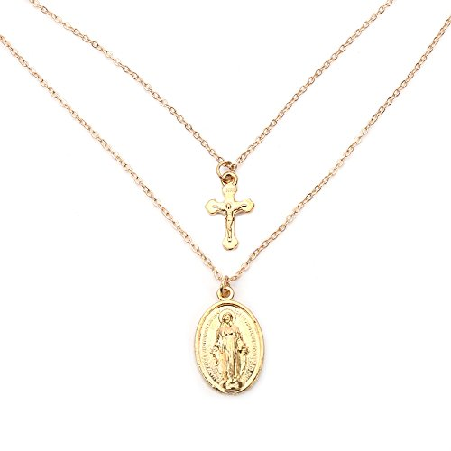 Double Cross Pendant - Double Layer Goddess Statue Coin Cross Necklaces - Pendant for Women Party Jewelry (gold)