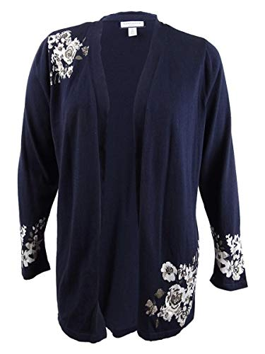 Charter Club Womens Plus Floral Jacquard Cardigan Sweater Navy 1X