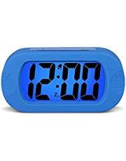 HENSE Large Digital Display Luminous Alarm Clock With Snooze, Night Light And Light Sensor Function, Large LCD Display Shockproof Silicone Protective Cover, Simple Setting, Progressive Alarm, Batteries Powered, Operated For Travel ,Office and Home Bedside Alarm Clock HA30(Blue)