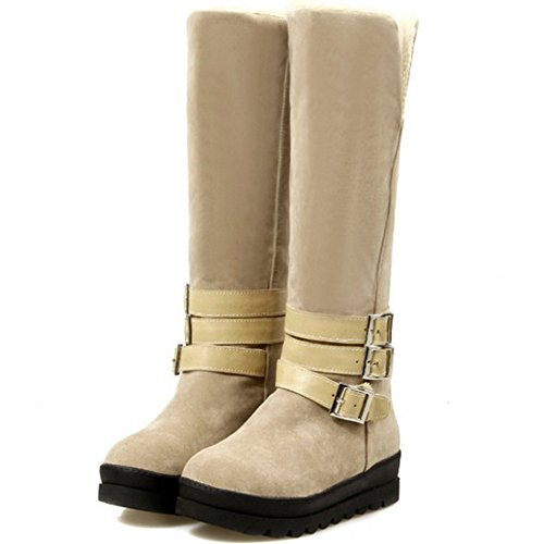 Beige with Women Buckles Comfort On Knee KemeKiss Boots Pull High xOgzzT0qn