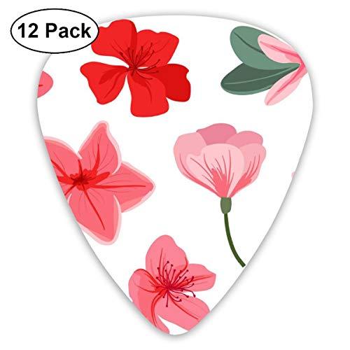 (HAIDILUN Azalea Flowers Pattern Guitar Picks Plectrums Acoustic Guitar Ukulele Picks 0.46 Mm, 0.73mm, 0.96 Mm,12 Pack)