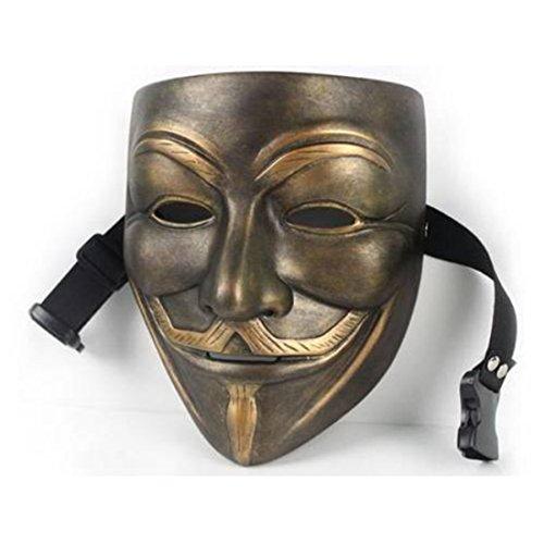 [OM(TM) Resin V for Vendetta Bronze Mask Resin Anonymous Guy Fawkes Halloween Mask] (Anonymous Man Costume)
