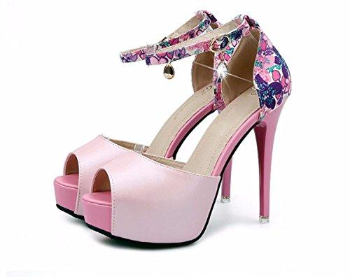 Boca Heel Pink De Sandalias Mujer Ajuste Plataforma Agua GTVERNH Taladro Super Hebillas de Zapatos De Pescado La 12Cm Verano Color High Verano Impermeable Zapatos Hembra De vqUTPwq4S