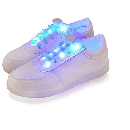 2win2buy LED Light Up Shoelaces, 2 Pairs Luminous LED Shoe Laces, Nylon Glow Shoes Laces & Three Flashing Modes Cool Safety Accessories for Dancing Hip-hop Cycling Running, Blue