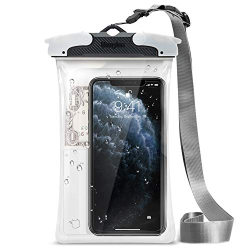 Ringke Waterproof Phone Pouch Case IPX8 Certified Universal Easy Snap Technology Clear Pouch Dry Bag for Smart Phones Up to 6.0 Diagonal - Black (Large)