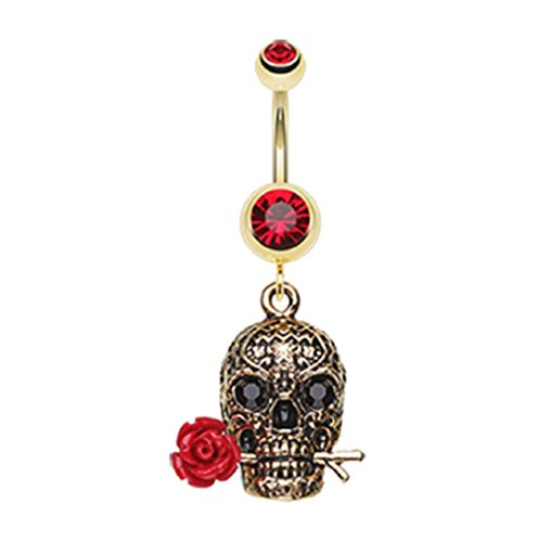 Golden Skull Rose 316L Gold Plated Steel Freedom Fashion Belly Button Ring (Sold Individually) (14GA, 3/8