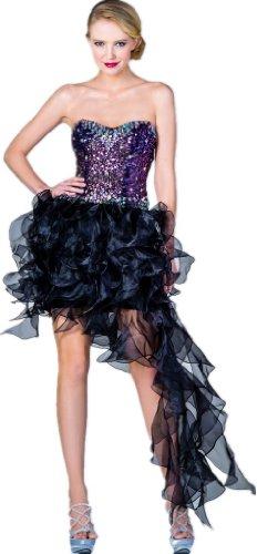 Meier Women's Strapless Embellished Ruffle High Low Gown in Black