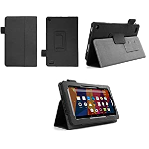 Case for Kindle Fire 7 Inch Tablet - Folio Case with Stand for Kindle Fire 7 Inch Tablet 5th Gen - (Imprint BLack)