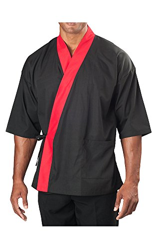 ¾ Sleeve Sushi Coat, Black with Red Accent, (Sushi Chef Halloween Costume)