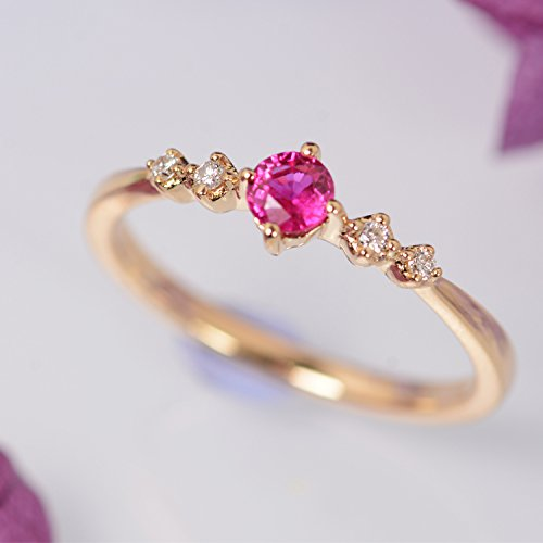 Natural ruby ring gold diamond ring 14K Solid rose gold Unique ruby engagement ring Dainty petite wedding ring Stacking Promise Anniversary gift for her