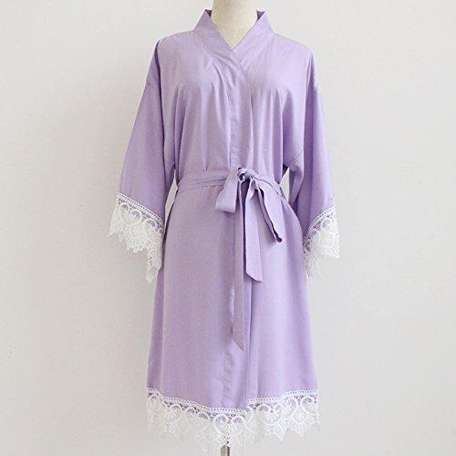 Lavanda Kimono Robe mujeres (con adornos de encaje) -Bridesmaid Kimono Robe- Dama