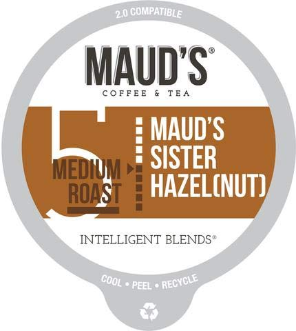 Maud's Hazelnut Flavored Coffee, 100ct. Recyclable Single Serve Coffee Pods - Richly Satisfying Arabica Beans California Roasted, K-Cup Compatible Including 2.0